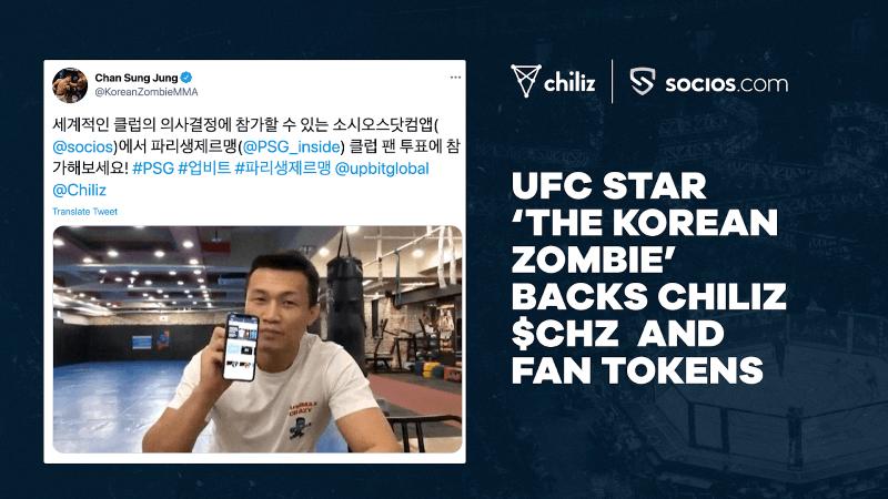 FanTokenNews.com - UFC Star 'The Korean Zombie' Backs Chiliz $CHZ And Fan Tokens.